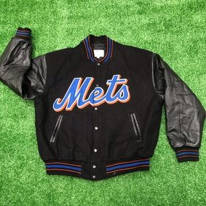 New York Mets MLB Wool / Leather Majestic Bomber